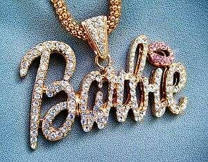 Barbie Clear Rhinestone Necklace Goldtone chain inspired by Nicki