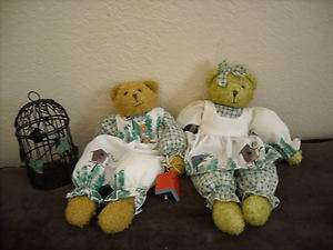 spring decoration dressed teddy bear pair boy and girl bird cage decor
