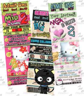 Hello Kitty Birthday ticket invitation + Party Supplies