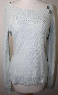BOB TIMBERLAKE Aqua Gray Shimmer Boat Neck Sweater NWT S