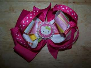 Boutique Girl Hair Bow baby toddler young Hello Kitty Pink bottlecap