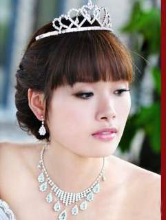 BRIDAL BRIDESMAID WEDDING PARTY JEWELRY TIARA CROWN NECKLACE SET
