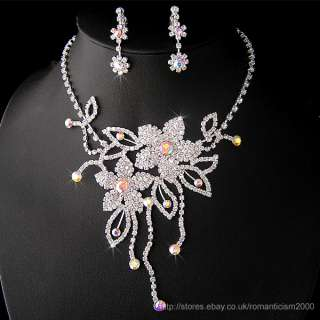 Wedding/Bridal crystal necklace earrings set S147