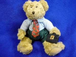 RUSS TEDDY BEAR WINSTON PAISLEY TIE BRIEFCASE 7 RARE