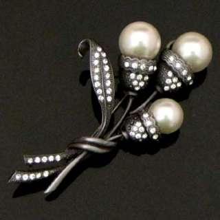Rhinestone crystal flower bouquet brooch pin bridal #20