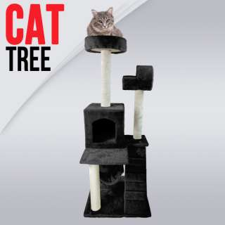 Black Deluxe 50 Cat Tower Tree w Condo Scratcher Furniture Kitten
