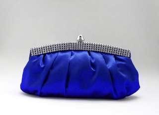 Blue Satin Rhinestone Studded Evening/Wedding Clutch Purse Bag