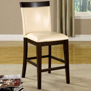 Solid Wood Espresso Finish Counter Height Chairs (Set of 2)