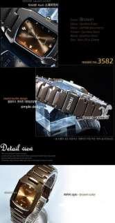 New Mens Brown Gold Watches Crystals Quartz Wrist Watch