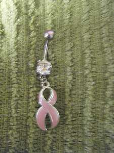 Pink CZ Cancer Awareness Ribbon Bow Dangle Navel Belly Ring