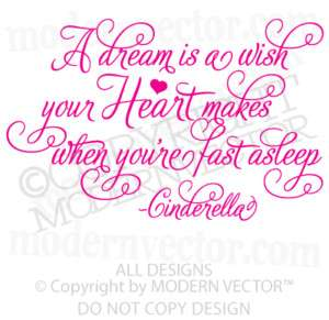 Disney CINDERELLA Nusery Quote Vinyl Wall Decal HEART