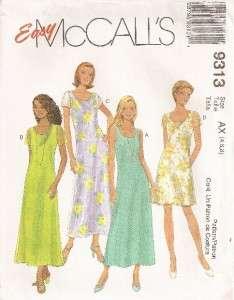 9313 McCalls Pattern, Misses Dress, 2 Lengths, SZ 4 8, Easy