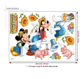 DISNEY MICKEY MOUSE DONALD DUCK Removable Wall Stickers