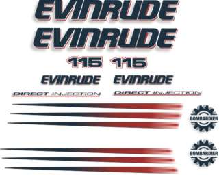 Evinrude 115hp outboard motor stickers decals graphics