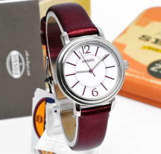 FOSSIL Ladies Watch, White Face Dial, Crimson Red Leather Band