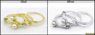 Lovely Cute 3in1 Gold Silver Color Crystal Pearl Butterfly Ring