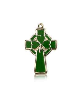 14k Gold Green Enameled Shamrock Celtic Cross Pendant