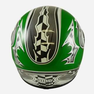 Motorcycle Full Face Sports Bike Helmet Green RACE FLAG Street DOT