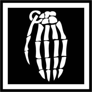 Skeleton hand grenade vinyl decal stickers ANY COLOR