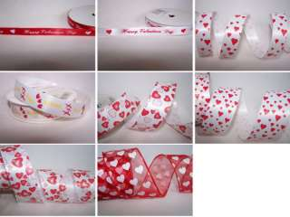 Red & White Heart Valentines Ribbon in 8 Styles BTY