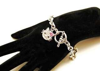 New hello kitty pink crystal flower charm bracelet ~~