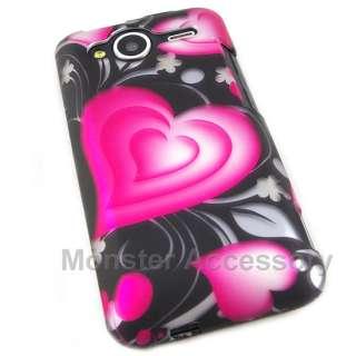 Love Heart Rubberized Hard Case Cover HTC Evo Shift 4G