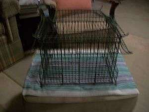 VINTAGE LARGE GREEN METAL BIRD CAGE OR FLOWER CONTAINER