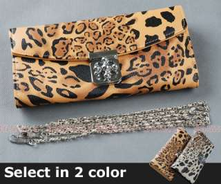 pcs Leopard Print Flower Buckle Lady Wallet Purse Shoulder Hand