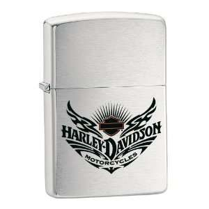 Zippo Harley Davidson Winged Tattoo Lighter (Silver, 5 1/2