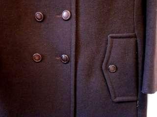 Vintage Womens Black Wool Winter Car Coat w Faux Leopard Collar