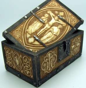 Rosary Jewelry Keepsake Box Case Cross Crucifixion Scene Wooden Look