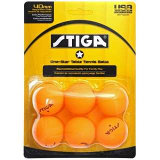 Stiga One Star Orange Table Tennis Balls   6 Balls