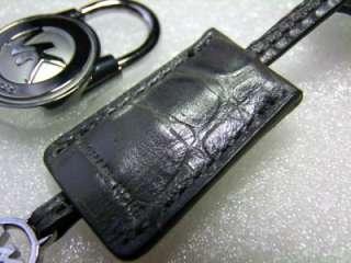 New Michael Kors Silver MK Logo Pad Lock & Key with Gray Croc Leather