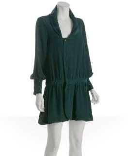 Geren Ford teal silk drop waist shirt dress