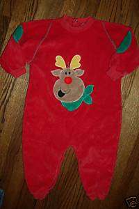 BABY RUDOLPH RED NOSE REINDEER COZY VELOUR CHRISTMAS LONGALL PAJAMA