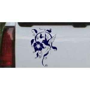 Navy 26in X 17.6in    Swirl Vine Flower Hummingbird Animals Car Window