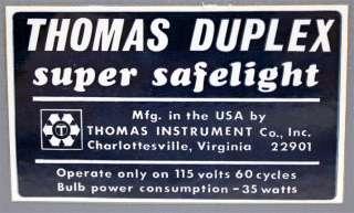 Thomas Instrument Company Inc. Duplex Super Safelight
