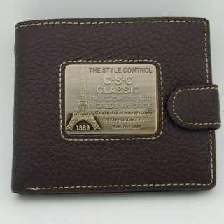 Mens Brown Coffee Genuine Real Cowhide Leather BiFold Wallet Purse Id