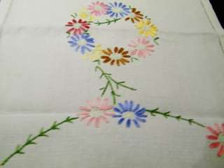 VINTAGE HAND EMBROIDERED TABLE RUNNER SCARF LINEN 11X3in (19)