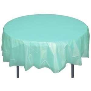 Aqua Blue Plastic Table Cover (84 inches round)