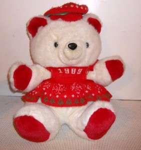 Vintage Stuffed Animal Plush KMART Teddy Bear 1989 Christmas Hoiliday