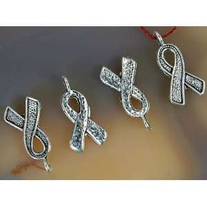 20pcs Tibetan Silver Breast Cancer Ribbon Charms 15mm ~Jewelry