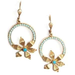 Hoop Earrings with Pacific Opal Swarovski Crystals and Gold Flower