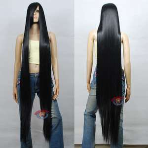 60 inch Hi_Temp Series Black Extra Long Cosplay DNA Wigs 81001