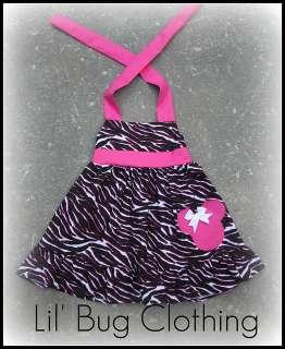 Custom Boutique Minnie Mouse Pink Black Zebra Dress